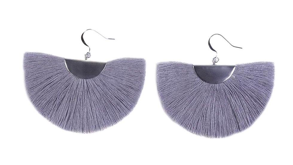 Silver Half Moon Fan Earrings