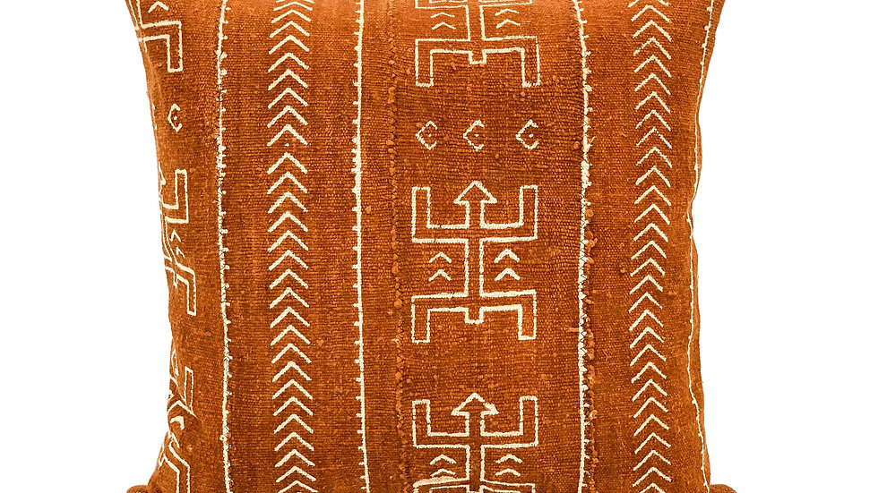Mudcloth Rust with cream pattern Pillow Cover