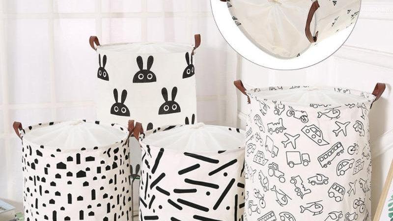 Folding Laundry Basket Drawstring Dirty Clothes