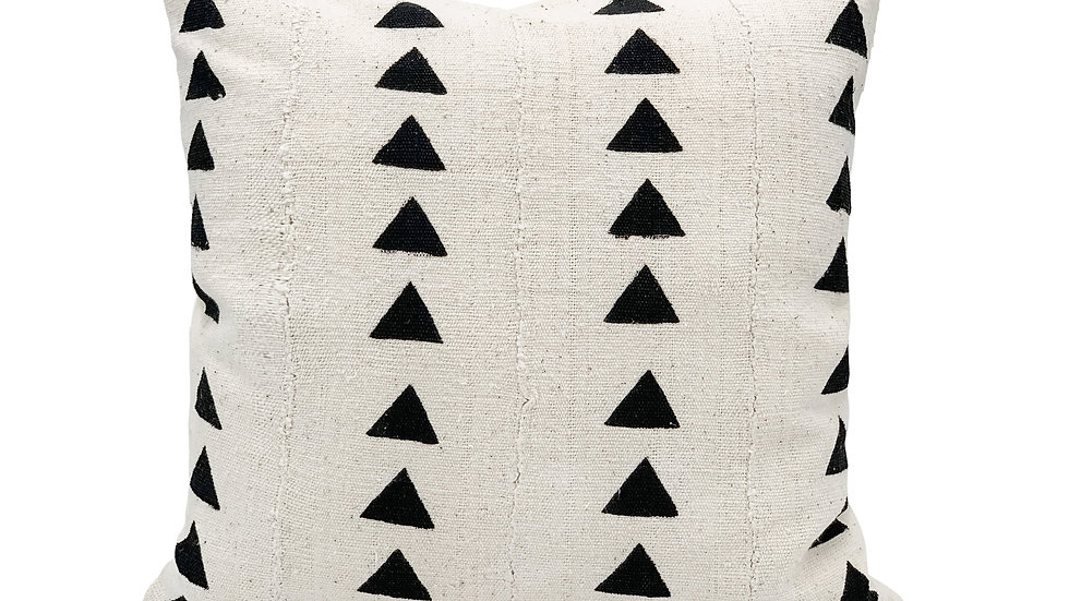 Mudcloth Black Triangles on White Pillow Cover