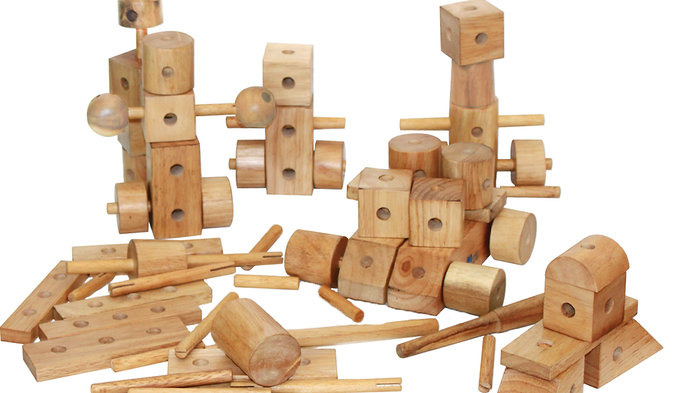 QToys Australia (USA) NATURAL WOOD CONSTRUCTION SET