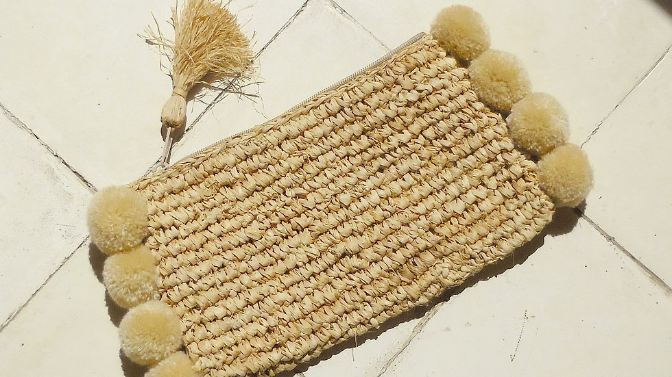 Brunna Canggu Woven Straw Clutch - in Natural Tan Raffia & Pom-poms