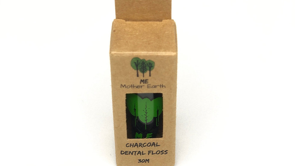 VEGAN Biodegradable Charcoal Dental Floss in GLASS container- 30M