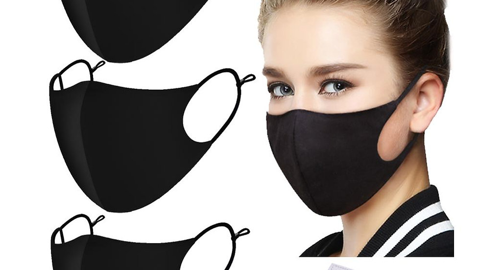 Cotton Face Mask Black/Pm2.5 Activated Carbon Filter.