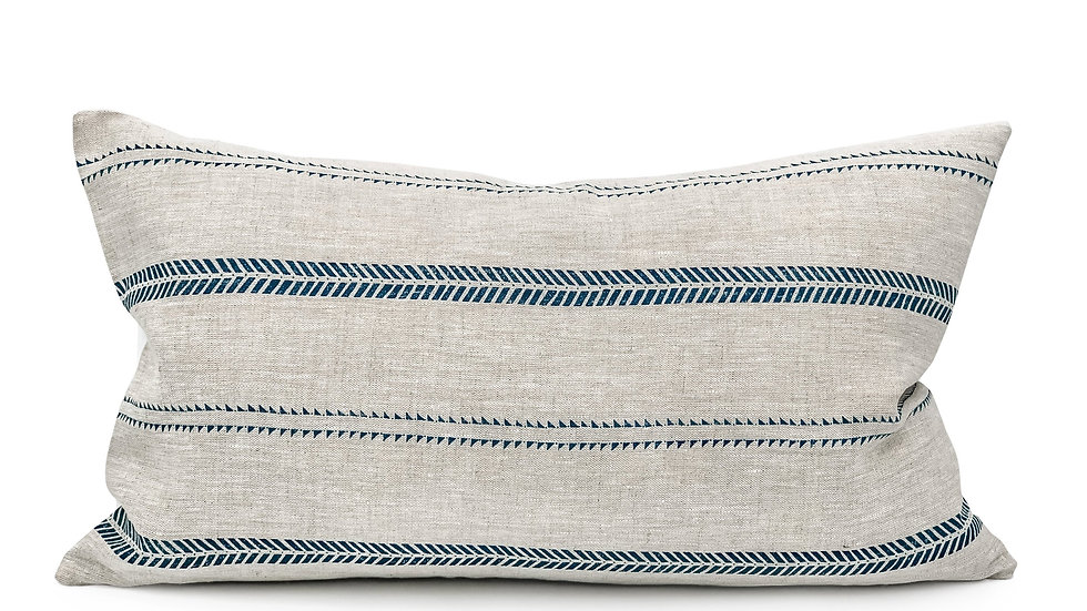 Inky Stripes on Natural Linen Lumbar