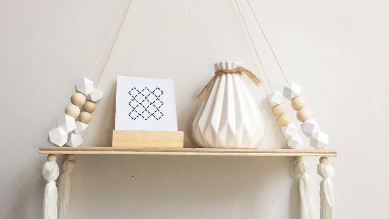 Hot Nordic Style Kids Baby Room Wooden Beads Tassel Wall Shelf.