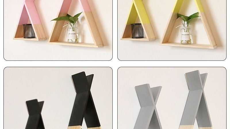 Nordic Nursery Wooden X Hanging Storage Rack for Kids Room Decor Needs Assembly