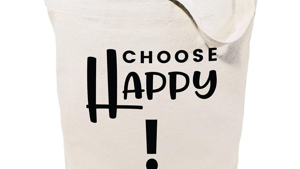 Choose Happy Cotton Canvas Tote Bag