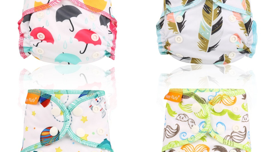 Happy Flute Waterproof and Reusable Organic Cotton Newborn AIO Cloth Diapers.