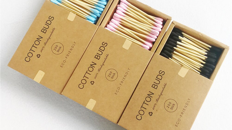 Eco Friendly 200Pcs Color Mix Double Head Bamboo Cotton Buds/Swab.