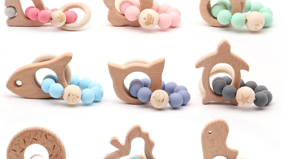 Wooden Baby Teether. Organic Wood  & Silicone Beads.