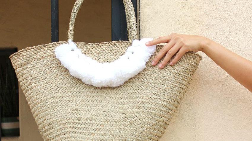 Brunna Muma Roman Tassel Straw Bag, in White -