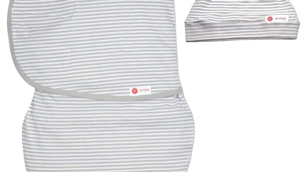 Hat and Starter Swaddle Original Bundle (Gray Stripe)