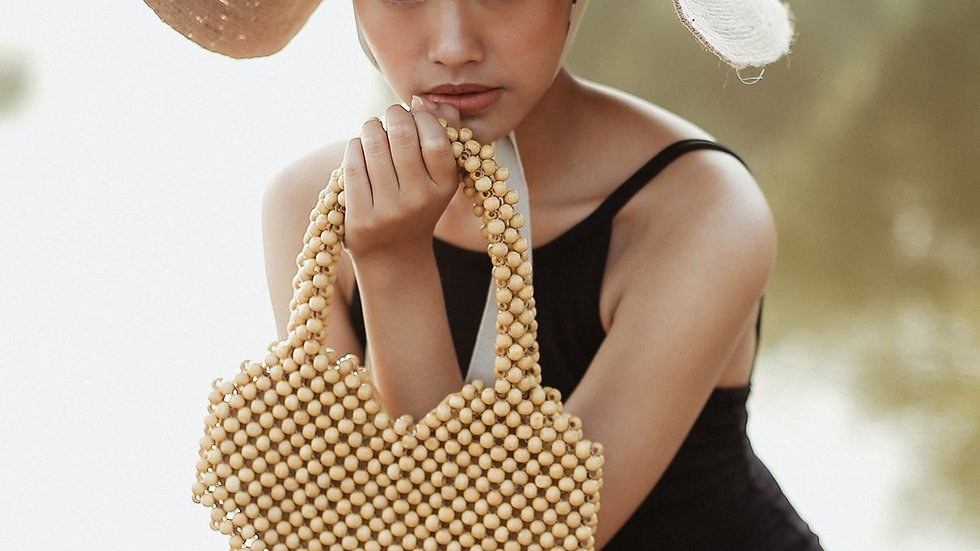 Hati Heart Wood-Beaded Tote Bag