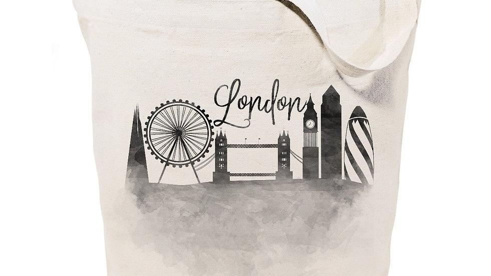 London Cityscape Cotton Canvas Tote Bag