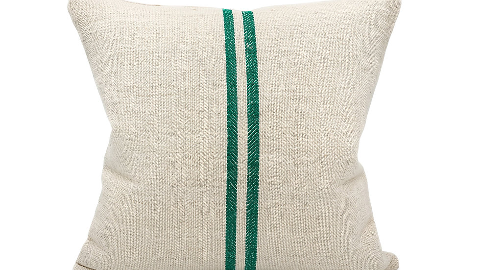 Vintage two green stripes grain sack pillow cover