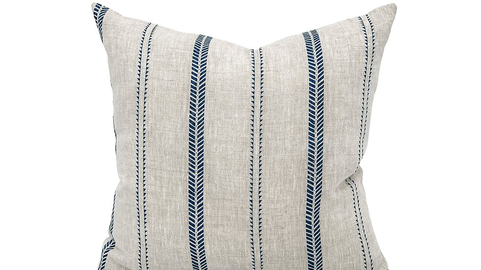 Inky Stripes on Natural Linen