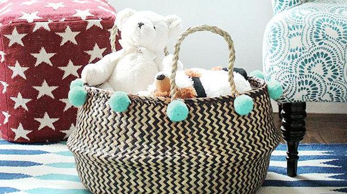 Borneo Extra Wide Zig-zag Organizer Basket - with Mint Pom-poms