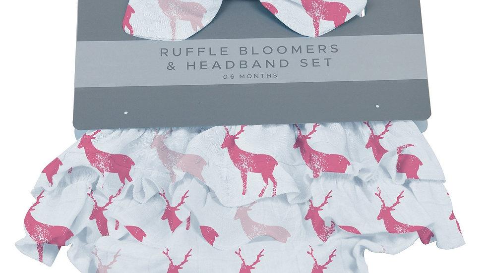 Pink Deer Ruffle Bloomers and Headband Set