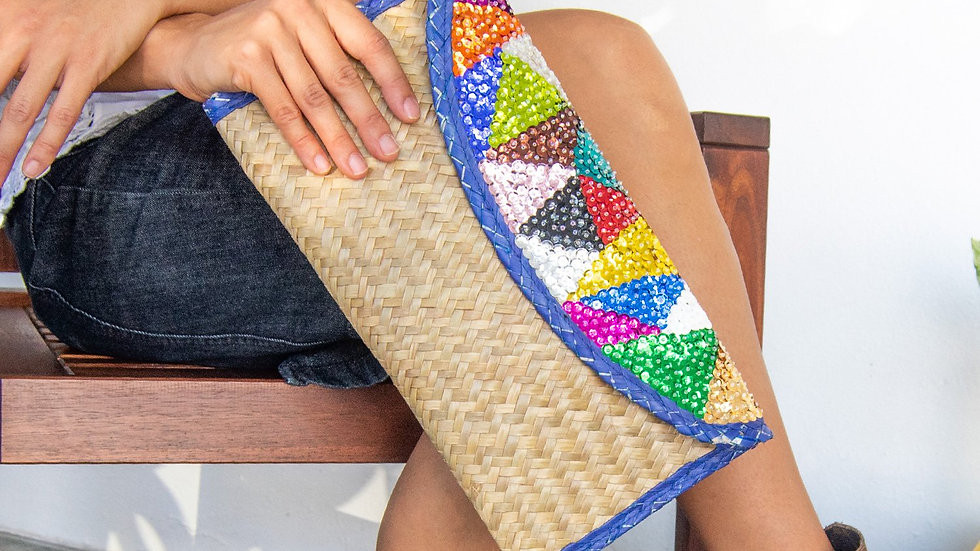 Hand woven Clutch Bag With Embroidery Triangles with Blue Trim.