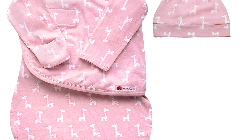 Hat and Starter Long Sleeves Swaddle Bundle (Pink Giraffes)