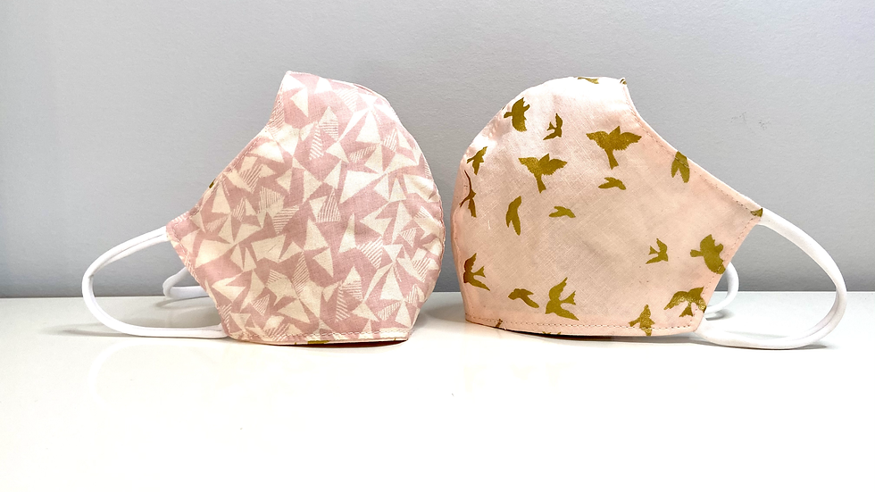 Gold Doves- Reversible Cotton & Linen Mask