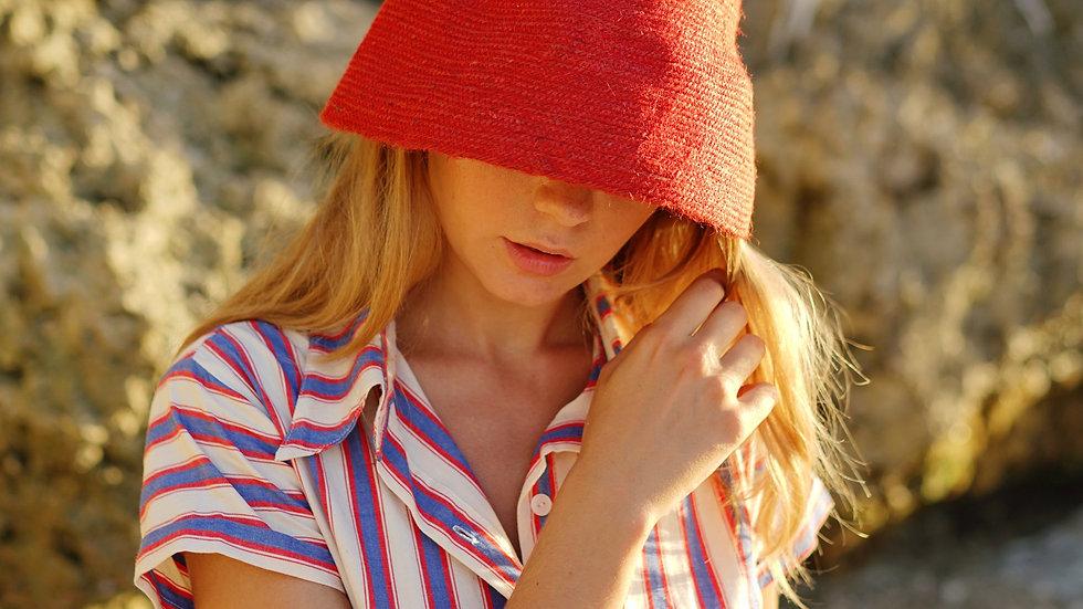 NAOMI Jute Bucket Hat, in Red