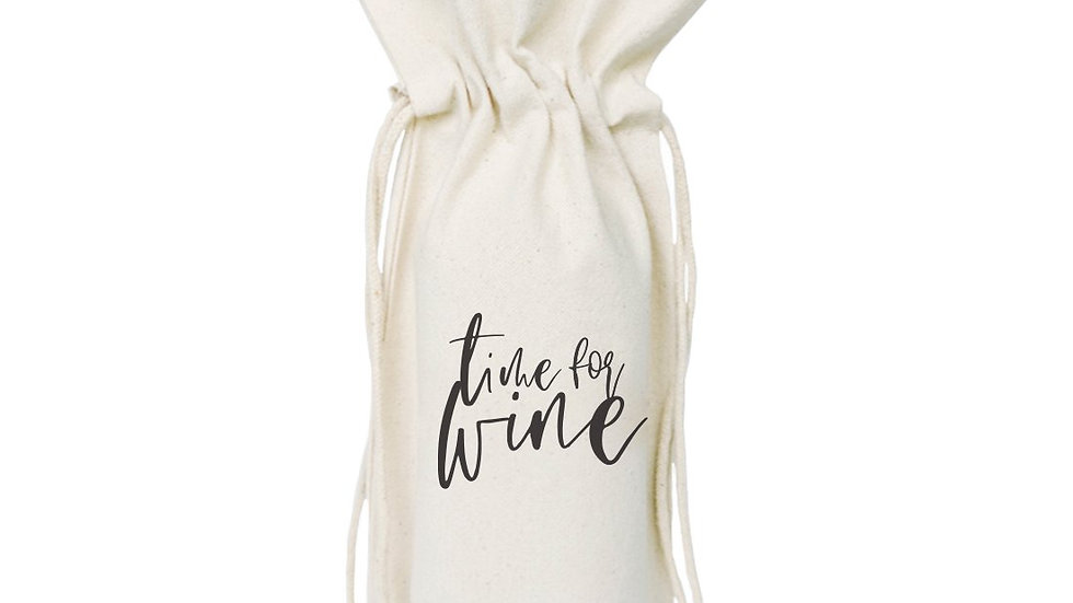 Time for Wine Cotton Canvas Wine Bag