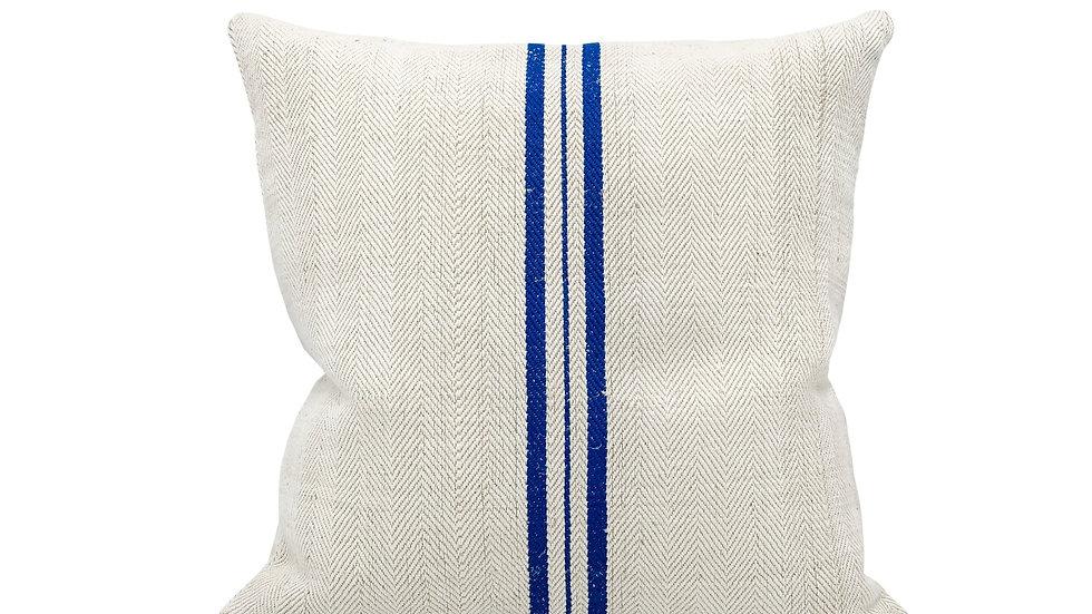 Vintage grain sack Three Blue Stripes Pillow Cover