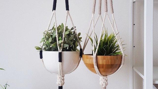 Macrame Plant Hanger, Hanging Planter, Color Block