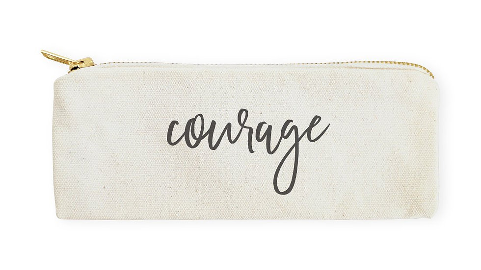 Courage Cotton Canvas Pencil Case and Travel Pouch