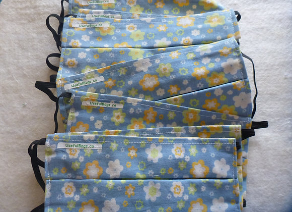 Yellow flowers on blue Pleated Cotton Mask (filter ready)