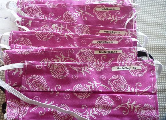 Pink Bandana Pleated Cotton Mask (filter ready)