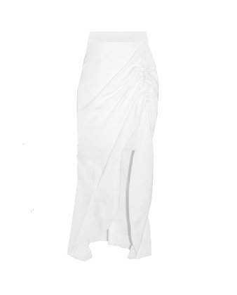 Gathered Side-Slit Midi Skirt