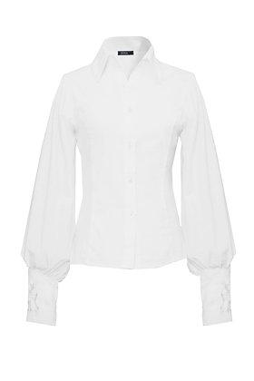 white reversible poplin button-down shirt