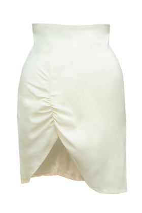 Hand-Gathered Crepe Back Satin Skirt