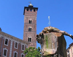 """Old roman out post named """"Hasta"""", Asti shows today especially it's medieval downtown, rich of towers, palaces and churches."""