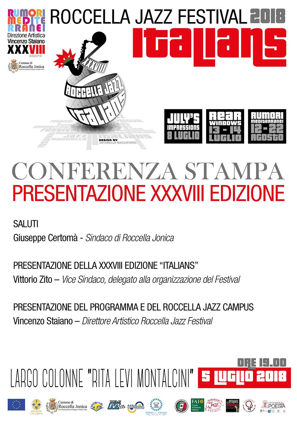 Locandina conferenza stampa XXXVIII edizione Roccella Jazz Festival Italians