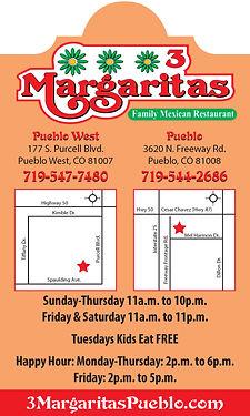 3 Margaritas 177 S Purcell Blvd 81007 Pueblo West, CO 81007 719-547-7480 3margaritaspueblo.com