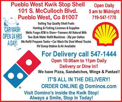 Domino's Pizza 101 S. McCulloch Blvd.  Pueblo West, CO 81007  719-547-1444 www.dominos.com