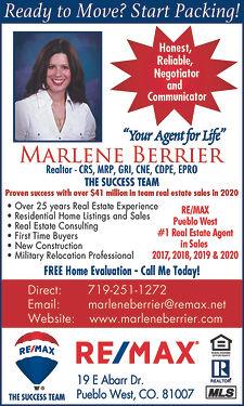 RE/MAX Pueblo West, Inc.  Marlene Berrier   19 E. Abarr  Pueblo West, CO 81007  719-251-1272 www.marleneberrier.com