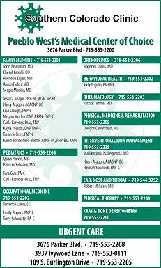 Southern Colorado Clinic, p.c. 3676 Parker Blvd.  Pueblo, CO 81008  719-553-22008; 719-553-0111; 719-553-2205