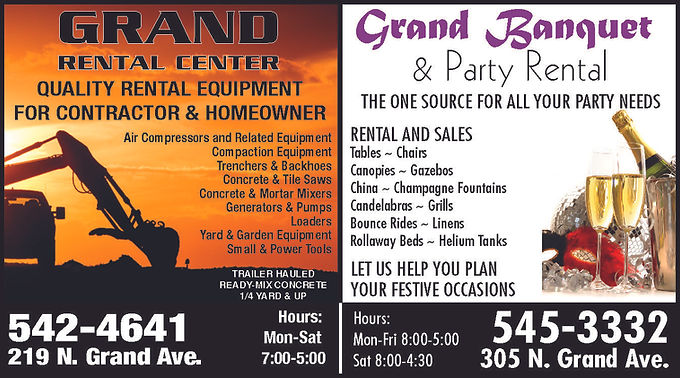 Grand Banquet & Party Rental 305 N. Grand Ave.  Pueblo, CO 81003  719-545-3332   Grand Rental Center 219 N. Grand Ave.  Pueblo, CO 81003  719-542-4641