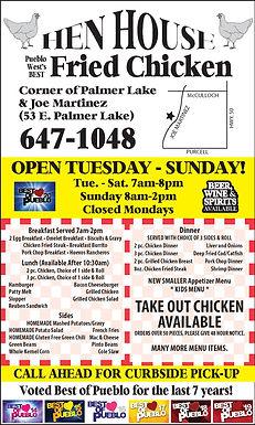 Hen House Cafe  53 Palmer Lake Dr.  Pueblo West, CO 81007  719-647-1048