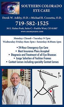 Southern Colorado Eye Care www.socoeyecare.com 50 E. Hahns Peak, #C  Pueblo West, CO 81007  719-582-1525