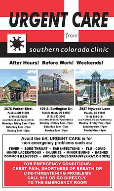Urgent Care 3676 Parker Blvd.  Pueblo, CO 81008  553-2208