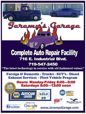 Jeremy's Garage 716 E. Industrial Blvd.  Pueblo West, CO 81007 719-547-2450 https://www.jeremysgarage.com/