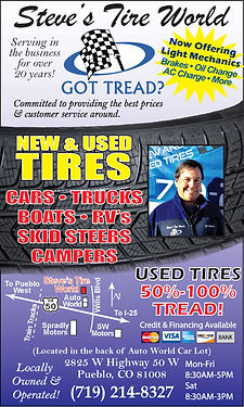 Steve's Tire World 2825 W Highway 50 Pueblo, CO 81008 719-214-8327