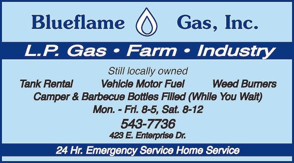 Blueflame Gas, Inc.  423 E. Enterprise Dr.  Pueblo West, CO 81007  719-543-7736