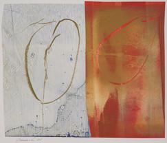 collage de monotypes sur papier de Chine marouflés sur papier Alamigeon et rehaussé à la craie de cire 30 x 40 cm 2020